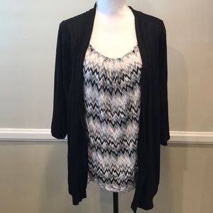Just my size Black faux two piece shirt combo 2X